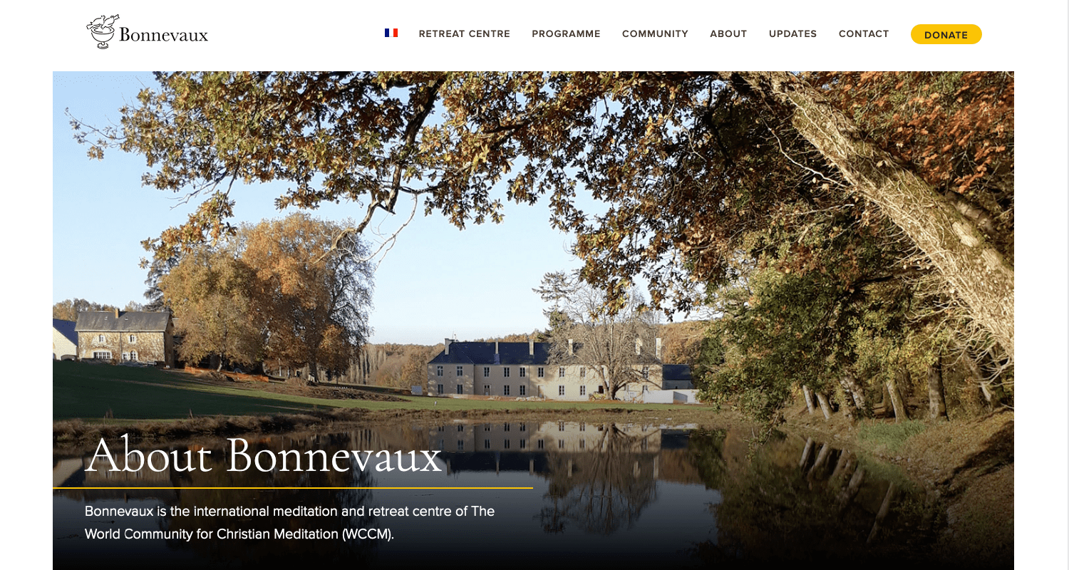 A screenshot of the Bonnevaux homepage
